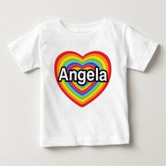 私はアンジェラの虹のハートを愛します ベビーTシャツ