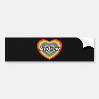 私はアンドリューを愛します。 私はアンドリュー愛します。 ハート バンパーステッカー