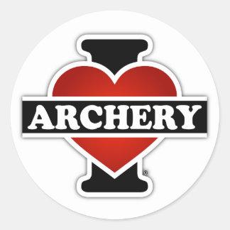 私はアーチェリーを愛します 丸型シール