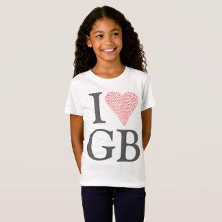 私はイギリス女の子のTシャツを愛します Tシャツ