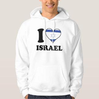 私はイスラエル共和国のイスラエルの旗のハートを愛します パーカ