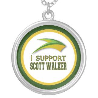 私はウィスコンシンの知事のスコットの歩行者を支えます シルバープレートネックレス
