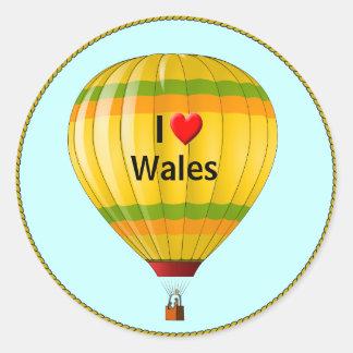 私はウェールズの熱気の気球を愛します ラウンドシール