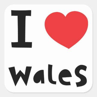 私はウェールズを愛します スクエアシール