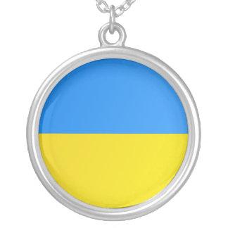 私はウクライナのネックレス-旗--を愛します シルバープレートネックレス