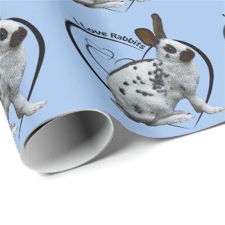 私はウサギの包装紙を愛します(淡いブルーの) ラッピングペーパー