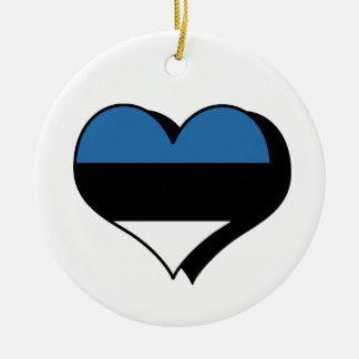 私はエストニアのオーナメントを愛します 陶器製丸型オーナメント