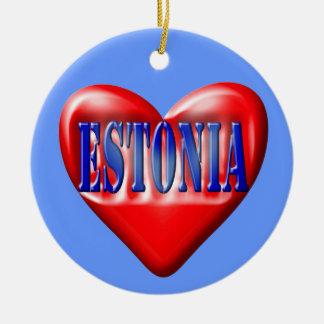 私はエストニアを愛します セラミックオーナメント