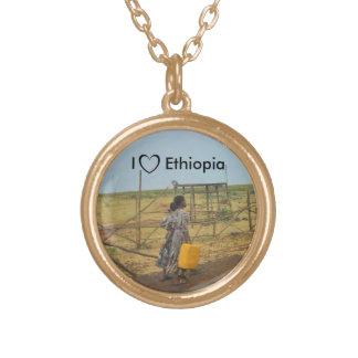 私はエチオピアのネックレス#2を愛します ゴールドプレートネックレス