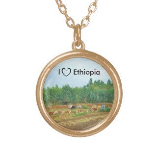 私はエチオピアのネックレス#3を愛します ゴールドプレートネックレス