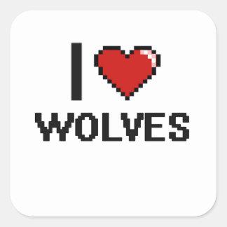 私はオオカミのデジタルデザインを愛します スクエアシール