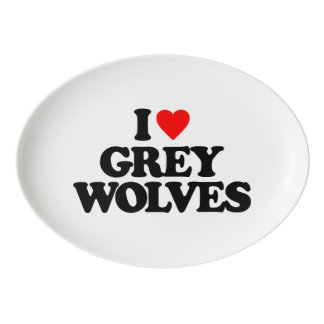 私はオオカミを愛します 磁器大皿