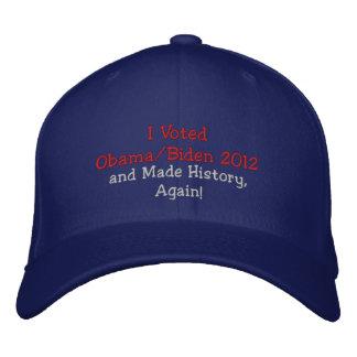 私はオバマ、バイデン氏2012年を投票し、歴史を、再度作りました! 刺繍入りキャップ