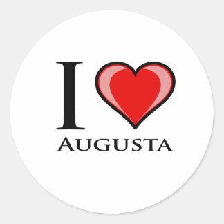 私はオーガスタを愛します 丸形シールステッカー
