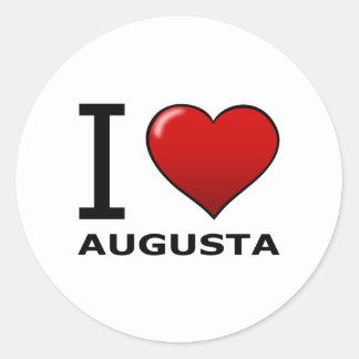 私はオーガスタ、GA -ジョージア--を愛します 丸形シール・ステッカー