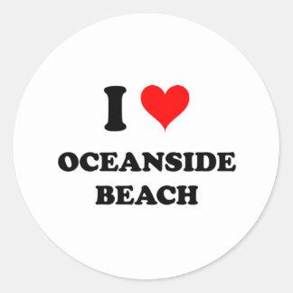 私はオーシャンサイドのビーチカリフォルニアを愛します ラウンドシール