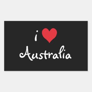 私はオーストラリアを愛します 長方形シール