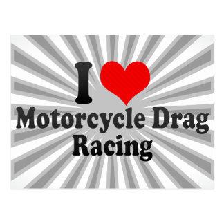 私はオートバイのドラッグの競争を愛します ポストカード