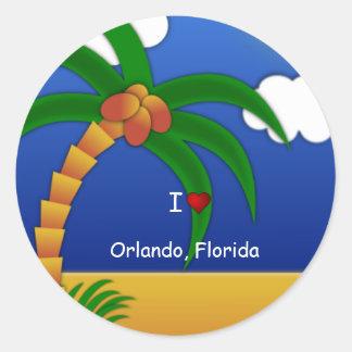 """""""私はオーランド、フロリダ""""の装飾的なステッカー愛します ラウンドシール"""