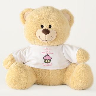 私はカップケーキよりもっと愛します! おもしろいなロマンチック テディベア