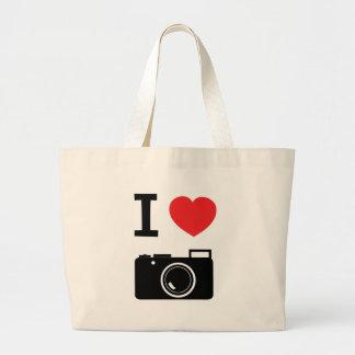 私はカメラを愛します ラージトートバッグ