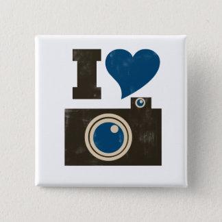私はカメラを愛します 5.1CM 正方形バッジ