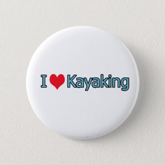 私はカヤックを漕ぐロゴを愛します 缶バッジ