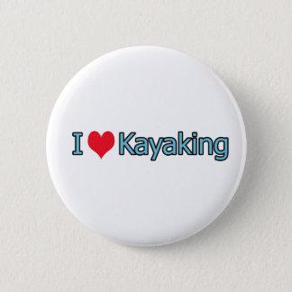 私はカヤックを漕ぐロゴを愛します 5.7CM 丸型バッジ