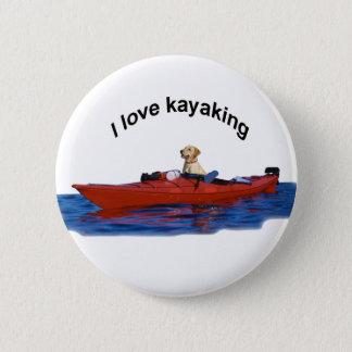 私はカヤックを漕ぐ(イエロー・ラブラドール・レトリーバー) 2つを愛します 5.7CM 丸型バッジ