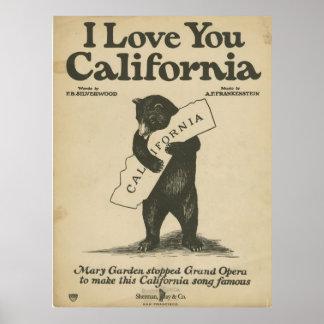 私はカリフォルニアポスター愛します ポスター