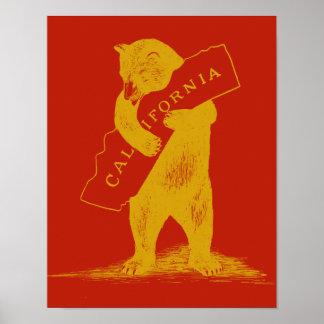 私はカリフォルニア愛します--赤および金ゴールド ポスター