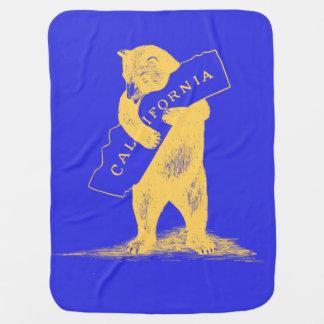 私はカリフォルニア愛します--青および金ゴールド ベビー ブランケット