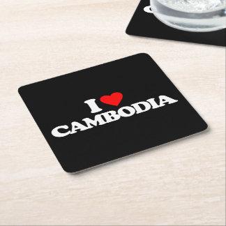 私はカンボジアを愛します スクエアペーパーコースター
