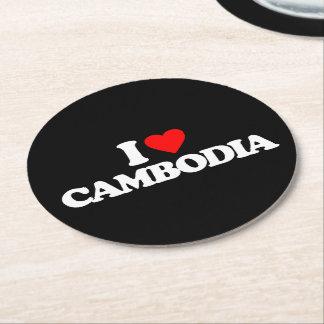 私はカンボジアを愛します ラウンドペーパーコースター