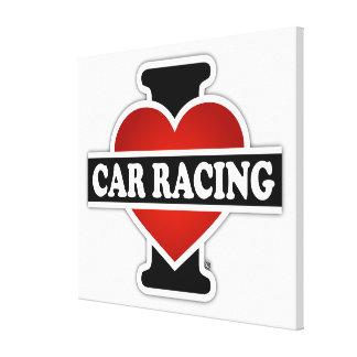 私はカーレースを愛します キャンバスプリント