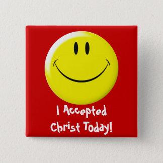 私はキリストを今日受け入れました! 5.1CM 正方形バッジ