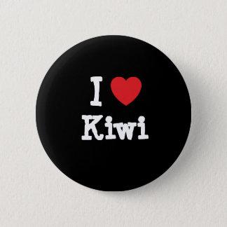 私はキーウィのハートのTシャツを愛します 缶バッジ
