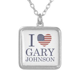 私はギャリージョンソンを愛します シルバープレートネックレス