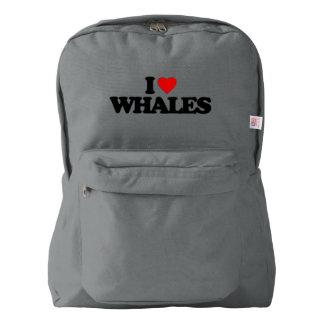 私はクジラを愛します AMERICAN APPAREL™バックパック