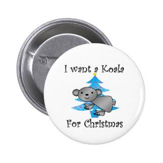私はクリスマスのためのコアラがほしいと思います 5.7CM 丸型バッジ