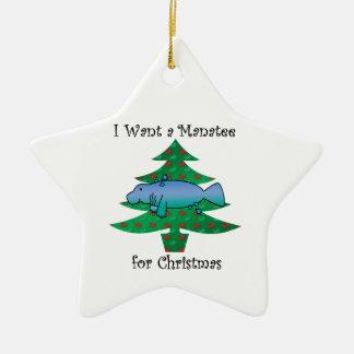 私はクリスマスのためのマナティーがほしいと思います セラミックオーナメント