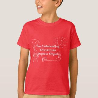 私はクリスマスのオーストラリアのスタイルの白を祝っています Tシャツ