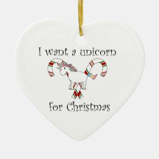 私はクリスマスのキャンディ・ケーンのためのユニコーンがほしいと思います セラミックオーナメント