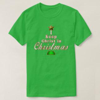 私はクリスマスの緑の休日のTシャツのキリストを保ちます Tシャツ