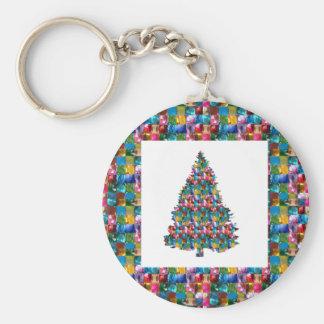 私はクリスマスを愛します: 真珠の宝石の宝石とjadded木 キーホルダー