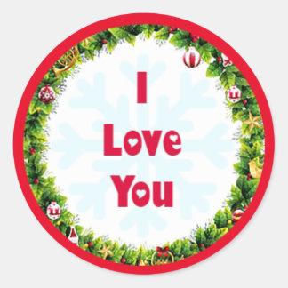 私はクリスマス愛します ラウンドシール