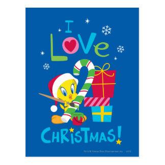 私はクリスマス- TWEETY™ --を愛します ポストカード