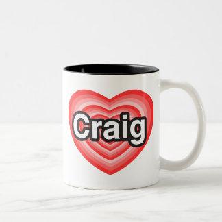 私はクレイグを愛します。 私はクレイグ愛します。 ハート ツートーンマグカップ