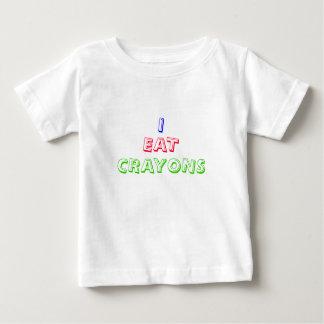 私はクレヨンのおもしろいなスローガンのベビーのTシャツを食べます ベビーTシャツ
