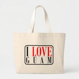 私はグアムのデザインを愛します ラージトートバッグ